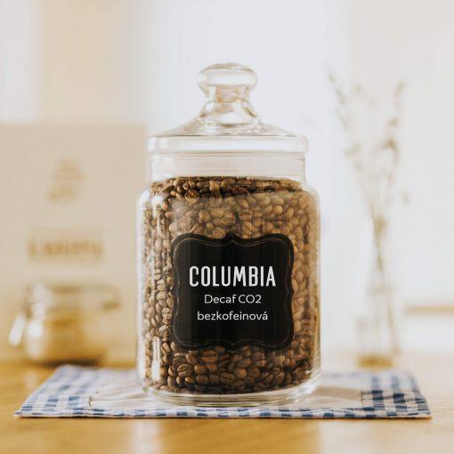 Zrnková čerstvá káva Columbia bezkofeinová